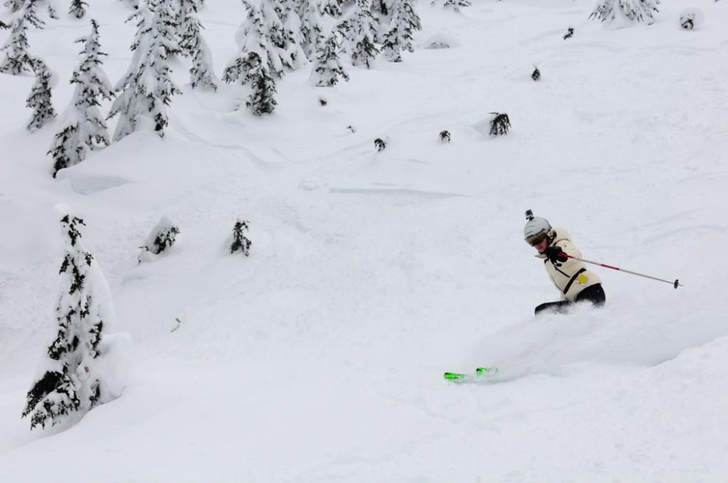 Linda Skiing in Powder