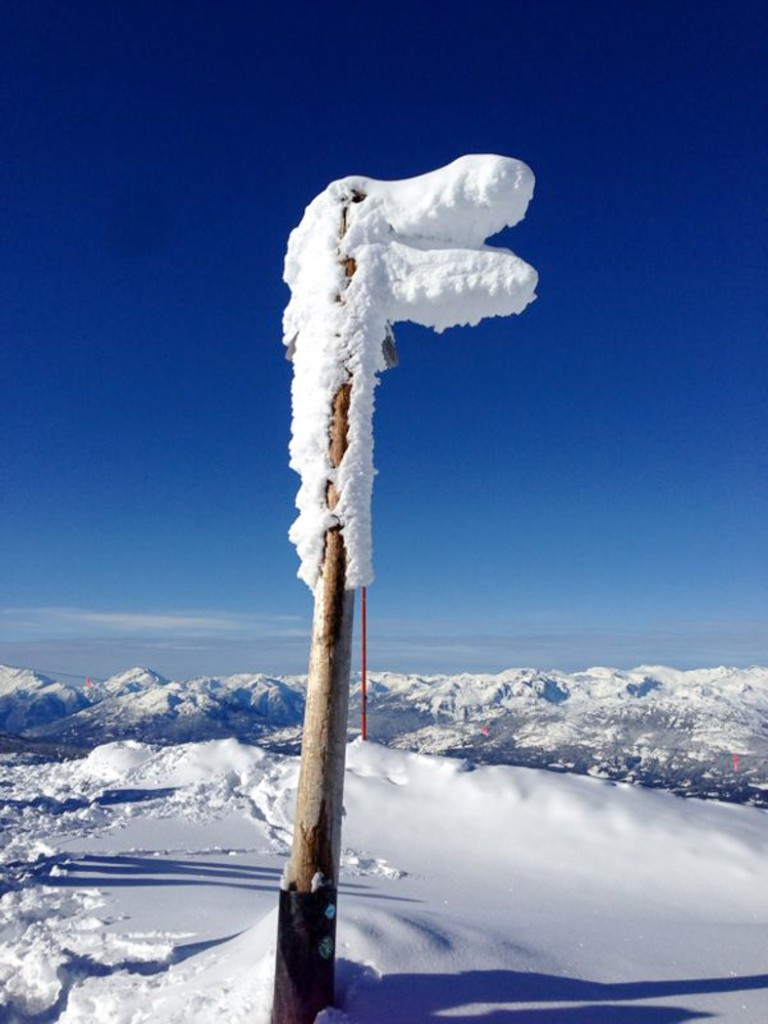 Pole with snow and blue sky_ Linda loves
