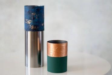 Edelstahl Zylinder Vasen in blau kupfer und grün - lindaloves.de DIY Blog