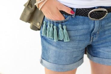 DIY Anleitung Shorts Hose mit Quasten Tassels Trotteln selber machen - lindaloves.de DIY Fashion Blog