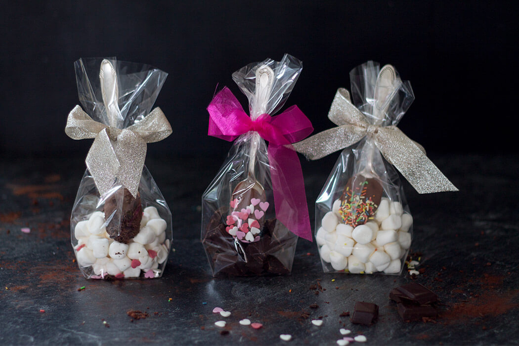 DIY Geschenk Weihnachten - heiße Schokoladelöffel