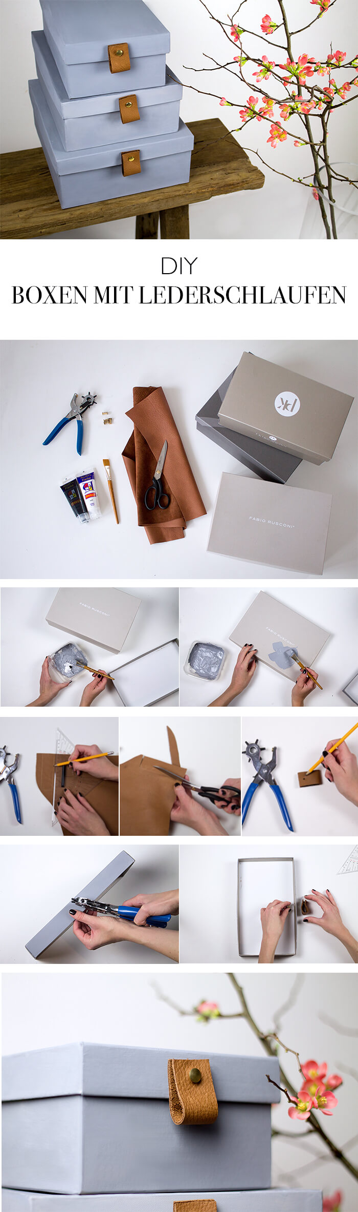 Schuhkarton Upcycling Boxen zur Aufbewahrung mit Lederriemen - DIY Blog aus Berlin lindaloves.de