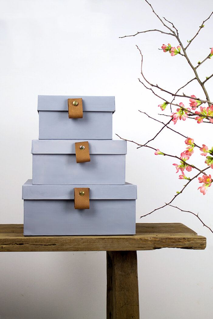 DIY graue Boxen mit Lederschlaufen Anleitung - Upcycling - lindaloves.de DIY Blog aus Berlin