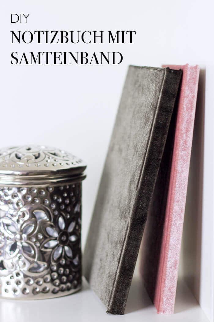 Notizbuch mit Samteinband -Buch einbinden Anleitung - DIY Blog lindaloves.de