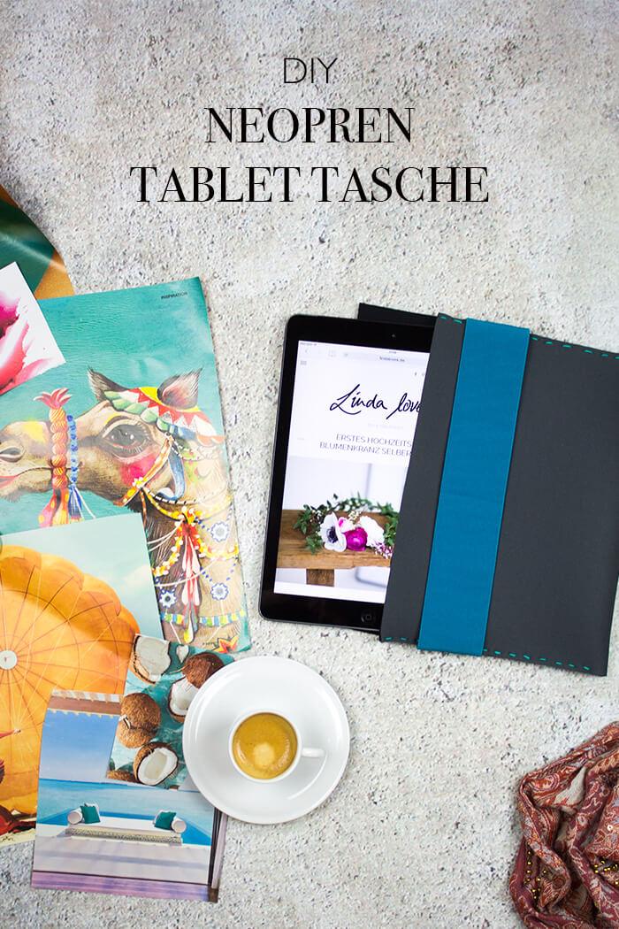 Neoprentasche für iPad nähen - D I Y Blog lindaloves.de