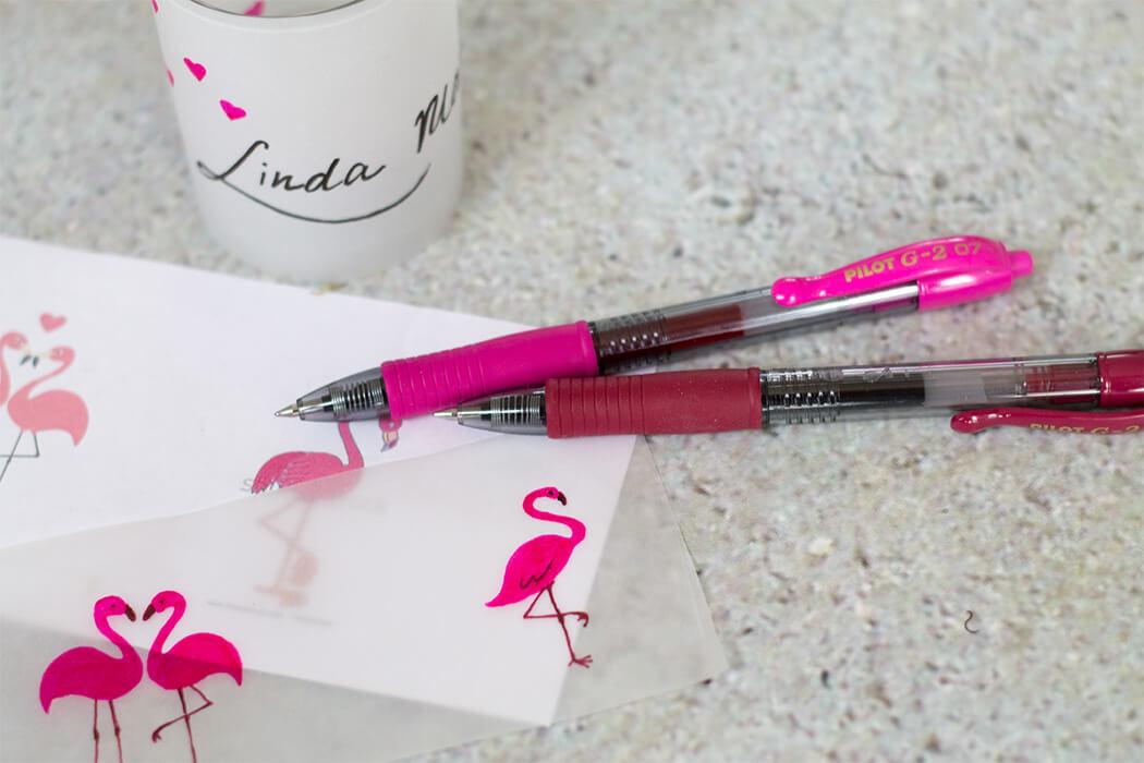 pinke Tischkarten mit Flamingos DIY pink