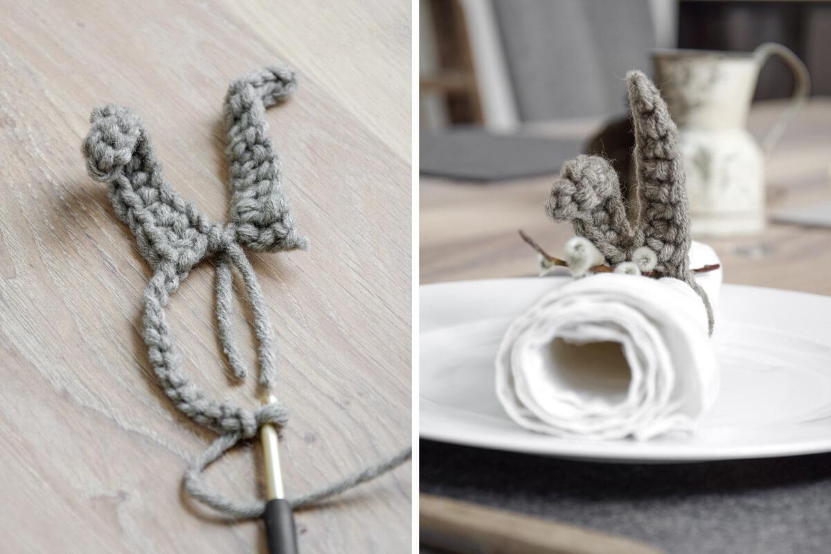 gehäkelte Hasenohren als Serviettenring von mx-living Interior und DIY Blog