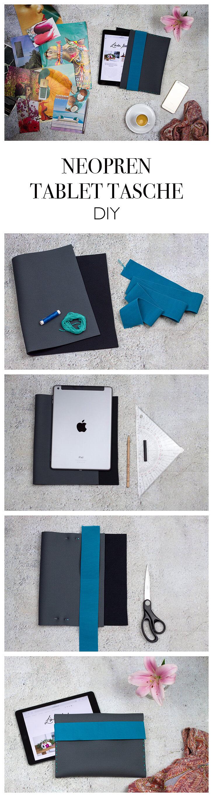 Neopren Tablet Tasche nähen mit Gummiband - Step-by-Step Anleitung - DIY Blog lindaloves.de