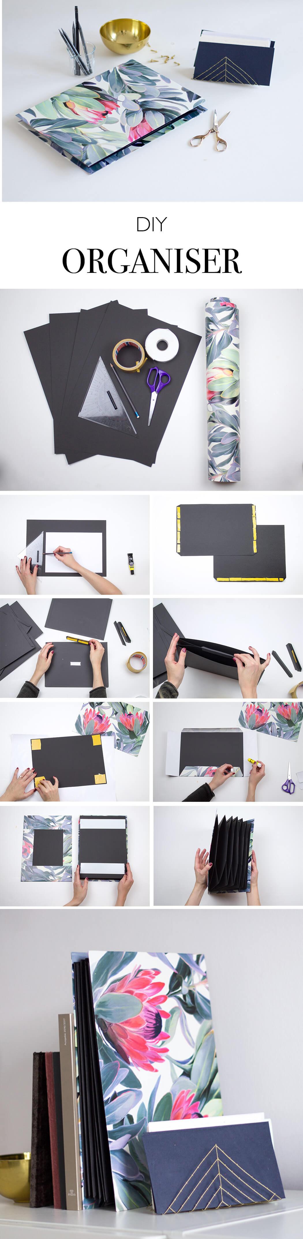 diy organiser papier organisationsmappe basteln. Black Bedroom Furniture Sets. Home Design Ideas