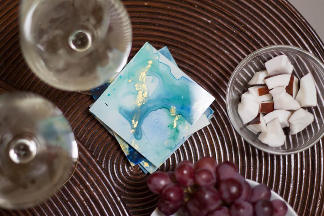 DIY Glasuntersetzer mit Wasserfarbeneffekt aus Bilderrahmen selber machen_ Step by Step Anleitung D I Y Basteln