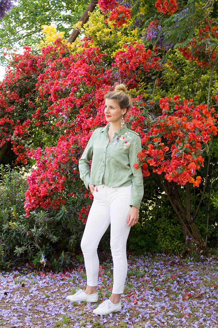 Bluse sticken buntes Blumenmuster DIY Blog
