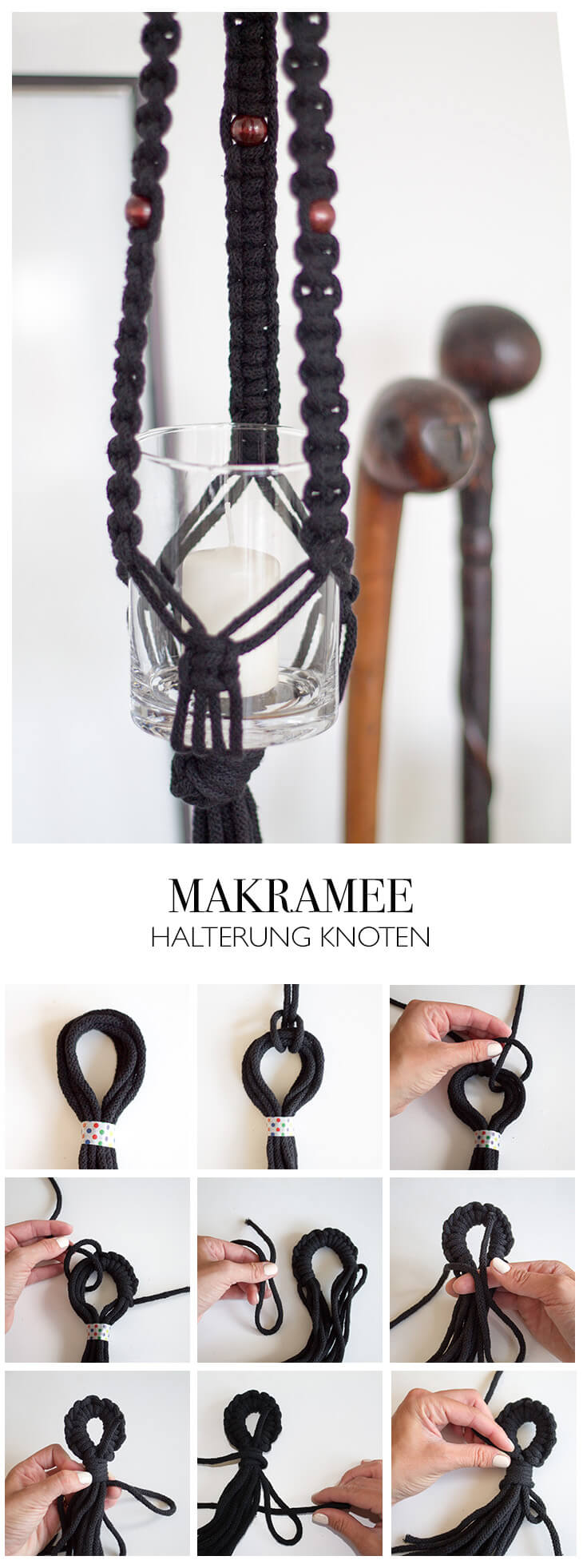 diy makramee kn pfen anleitung aus kreuzknoten. Black Bedroom Furniture Sets. Home Design Ideas