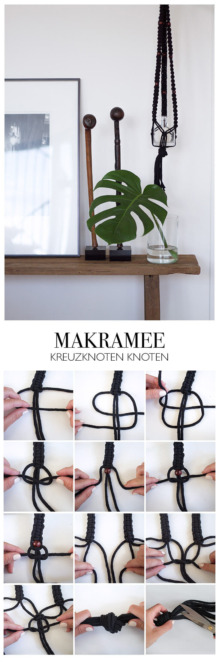 Makramee Kreuzknoten Step by Step Anleitung - DIY Blog lindaloves.de