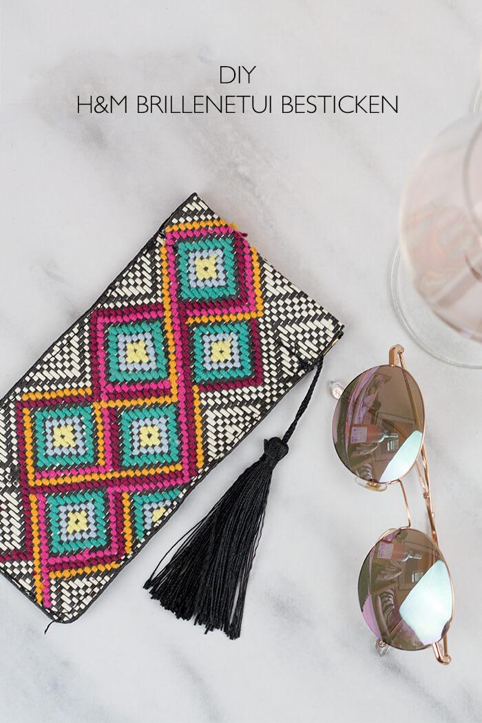 DIY Blog lindaloves.de - Sticken für Anfänger - Brillenetui von H&M besticken - Täschchen besticken - originelle Geschenkidee