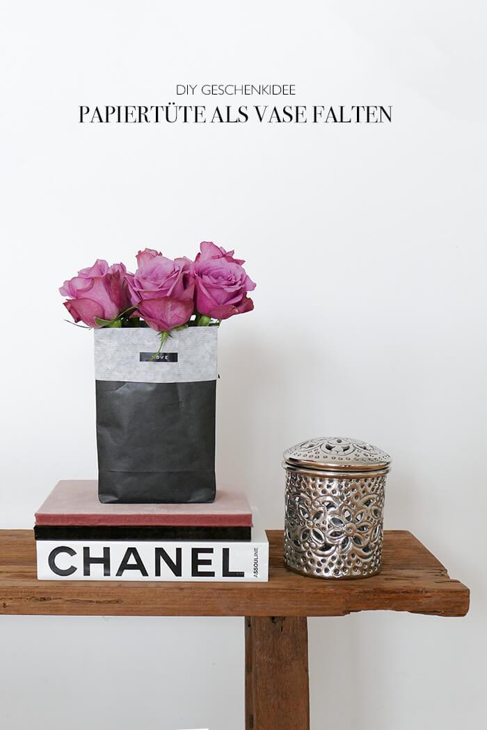 DIY Geschenkidee Vase aus Papiertütet falten Blumenvase basteln