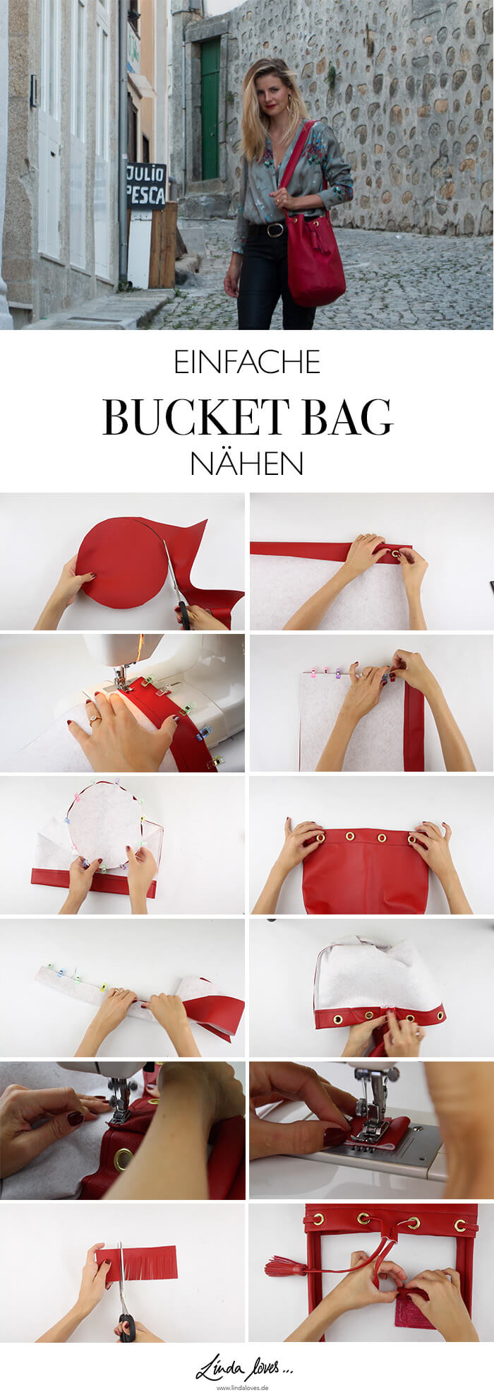 DIY Anleitung rote Bucket Bag naehen - Mode Do it yourself Blog