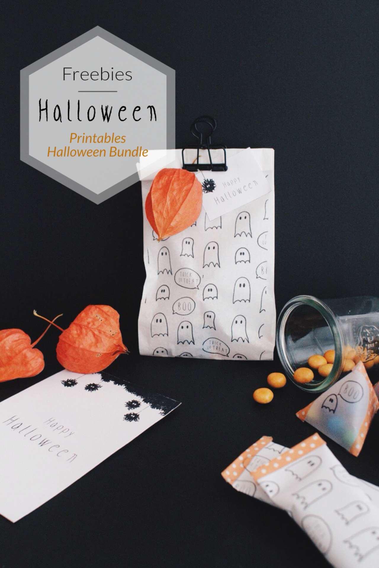 DIY Blog Halloween Dekoidee Feebie Printable Druckvorlage Halloween Geschenkpapier Karten Anhänger Geist Monster