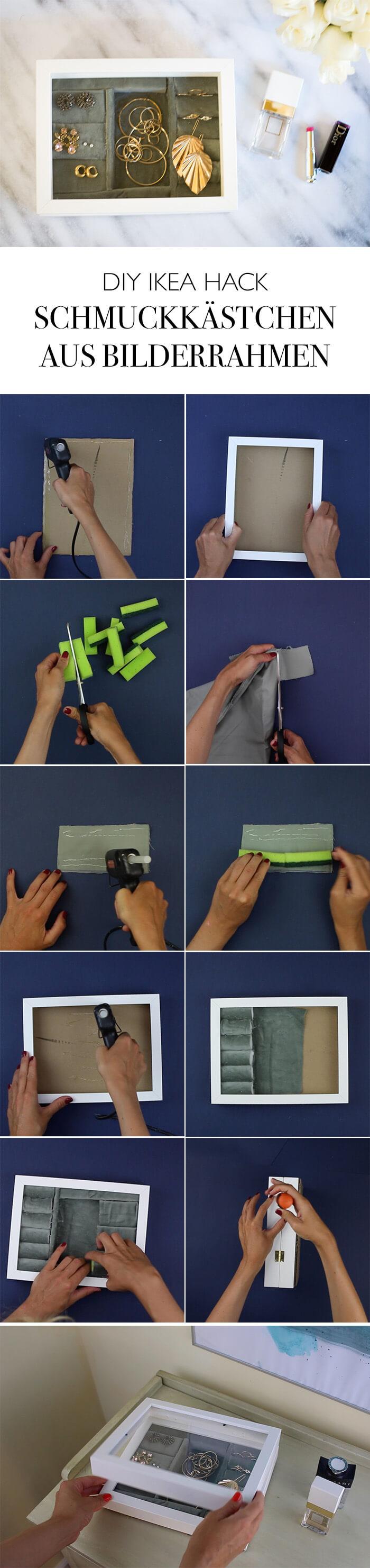 DIY Ikea Hack Bilderrahmen Schmuckkästchen selber machen Schmuckaufbewahrung DIY Deko Blog lindaloves