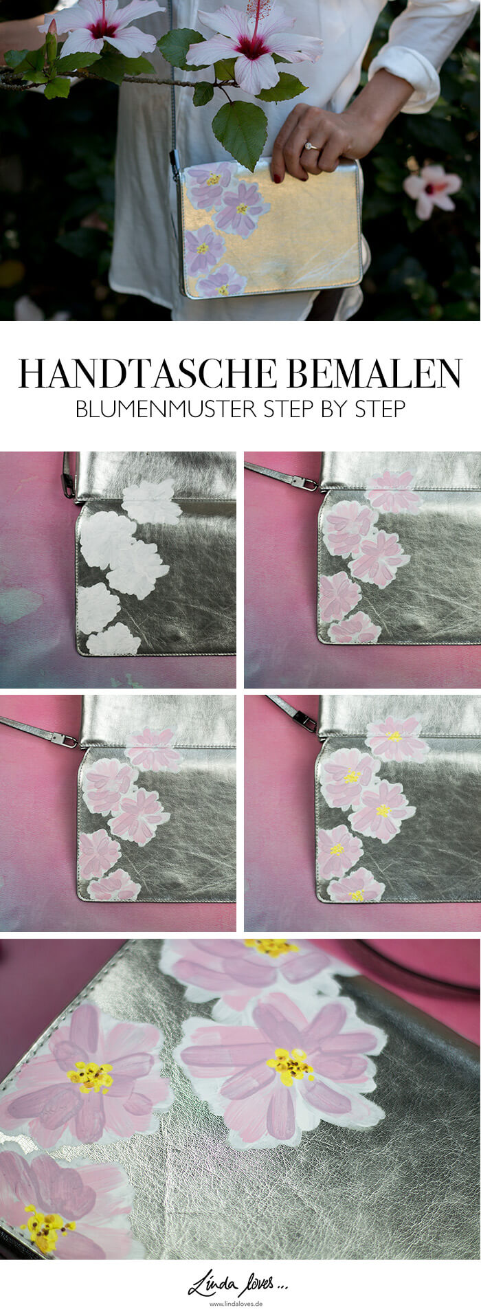 DIY Handtasche bemalen mit Acylfarben Upcycling Blumenmuster Step by Step Anleitung DIY Blog lindaloves.de