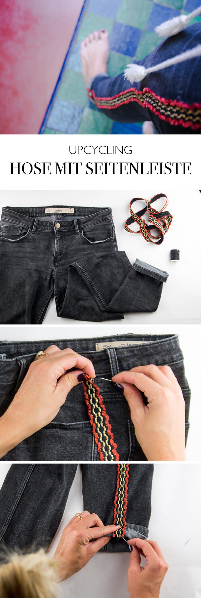 Upcycling DIY Blog Fashion do it yourself Hose aufpeppen Seitenleiste Design
