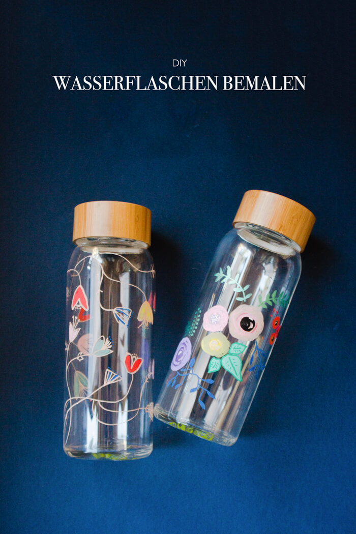 Glas bemalen - Wasserflaschen Upcycling - DIY Blog lindlaoves.de