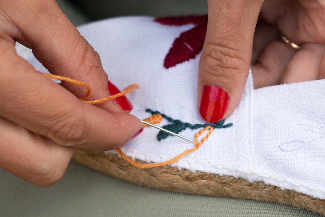 Espandrilles besticken Blumenmuster - Fashion DIY Blog