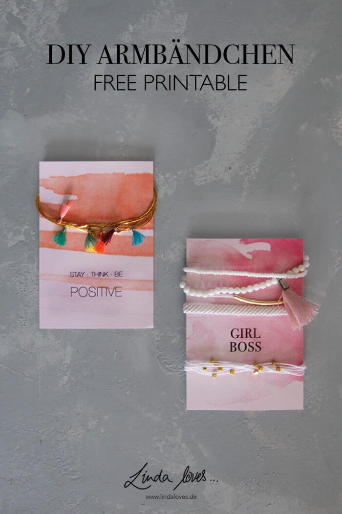 DIY Armbändchen knüpfen Freundschaftsbändchen basteln Geschenkidee Geschenk für die Freundin gratis Vordruck Geschenkkarte