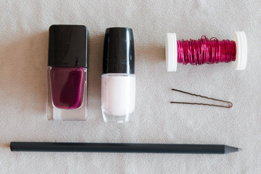 DIY Haarschmuck mit Draht Nagellack Hack Blumen Hochzeit