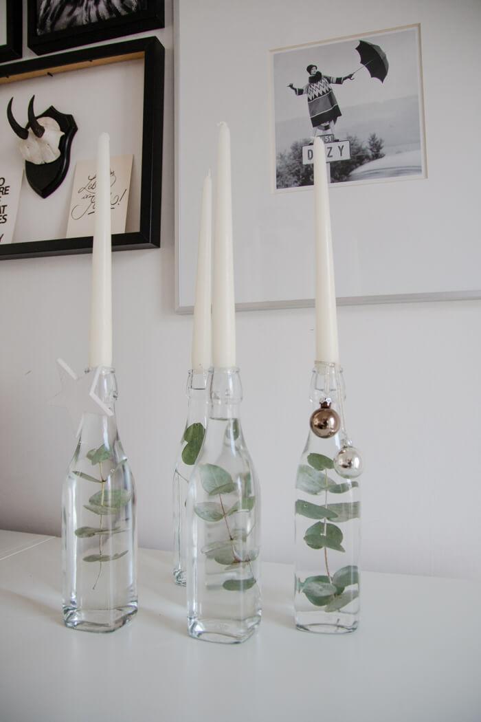 Adventskranz selber machen DIY Flaschen Eukalyptus